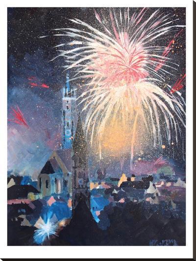 Landshut Bavaria Fireworks-M Bleichner-Stretched Canvas Print