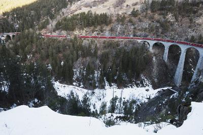 Landwasser Viaduct, Bernina Express Railway Line, UNESCO World Heritage Site-Christian Kober-Photographic Print