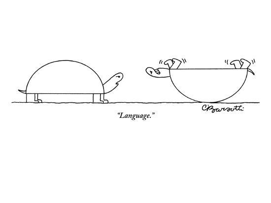 """""""Language."""" - New Yorker Cartoon-Charles Barsotti-Premium Giclee Print"""