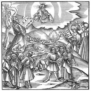 Languages: Moses Receiving from God the Tablets of the Law in Hebrew, 1512