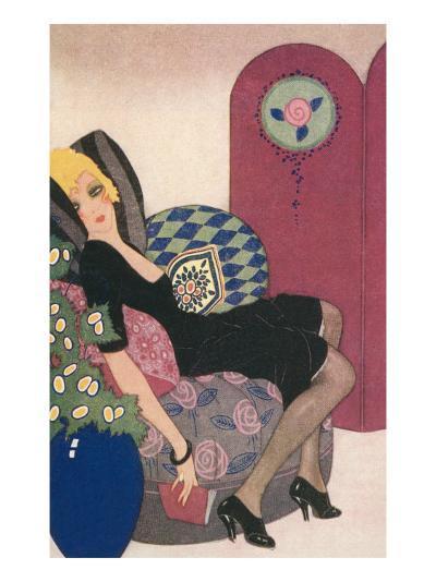 Languid Lady in Chair--Art Print