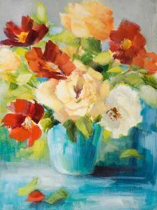 Flowers in Teal Vase 1 by Lanie Loreth