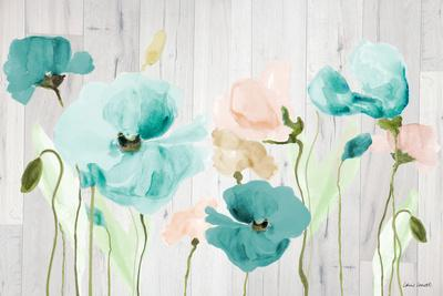 Teal Poppies on Wood