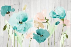 Teal Poppies on Wood by Lanie Loreth