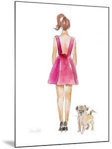 Water Color Girl With Puppy I by Lanie Loreth