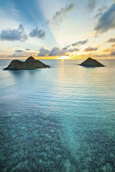 Lanikai Rainbow Sunrise-Cameron Brooks-Photographic Print