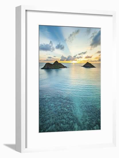 Lanikai Rainbow Sunrise-Cameron Brooks-Framed Photographic Print
