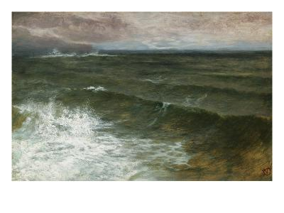 Lannacombe Bay, Start Point in the Distance (Oil on Board)-George Vicat Cole-Giclee Print