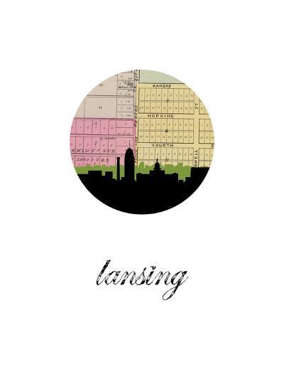Lansing Map Skyline--Art Print