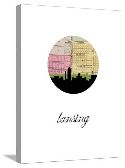 Lansing Map Skyline-Paperfinch 0-Stretched Canvas Print