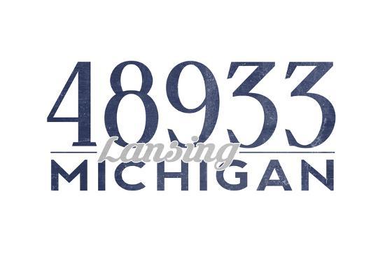 Lansing, Michigan - 48933 Zip Code (Blue)-Lantern Press-Art Print