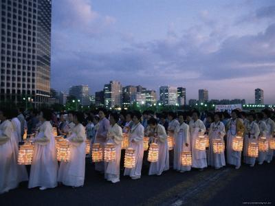 Lantern Parade at Beginning of Buddha's Birthday Evening, Yoido Island, Seoul, Korea-Alain Evrard-Photographic Print