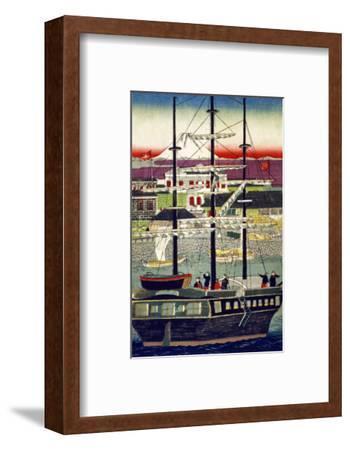 3 Masted Ship in Yokohama Harbor, Japanese Wood-Cut Print