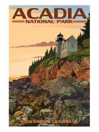 Acadia National Park, Maine - Bass Harbor Lighthouse by Lantern Press