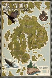 Acadia National Park, Maine - Map by Lantern Press
