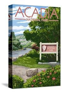 Acadia National Park, Maine - Park Entrance Sign and Moose by Lantern Press