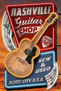 Acoustic Guitar Music Shop - Nashville, Tennessee by Lantern Press