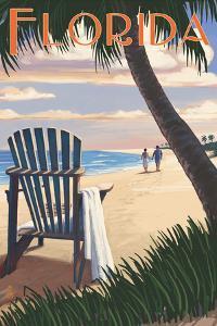 Adirondack Chairs and Sunset - Florida by Lantern Press