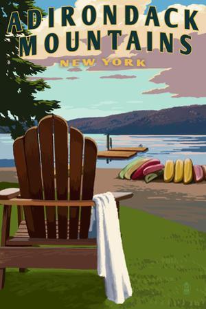 Adirondack Mountains, New York - Adirondack Chair and Lake