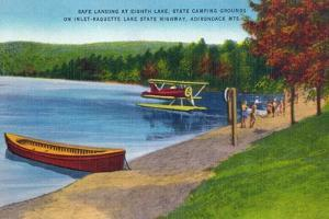 Adirondack Mountains, New York - Water Plane on Eighth Lake by Lantern Press