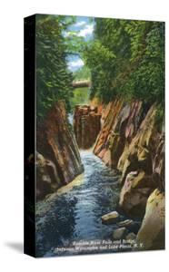 Adirondack Mts, New York - View of Ausable River Falls and Bridge by Lantern Press