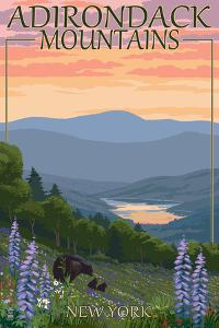 Adirondacks Mountains, New York State - Bears and Spring Flowers by Lantern Press