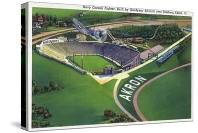 Akron, Ohio - Goodyear Navy Corsair Fighter over Stadium