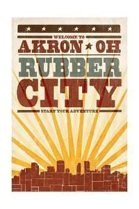 Akron, Ohio - Skyline and Sunburst Screenprint Style by Lantern Press