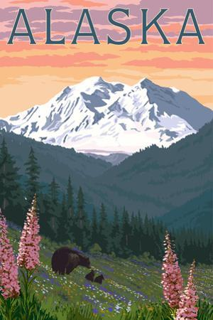 Alaska - Bear and Spring Flowers by Lantern Press