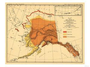 Alaska - Bear Population State Map by Lantern Press