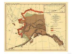 Alaska - Fox Population State Map by Lantern Press