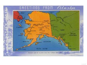 Alaska - Greetings From Alaska Map by Lantern Press