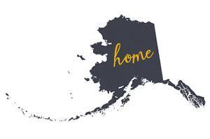 Alaska - Home State- Gray on White by Lantern Press