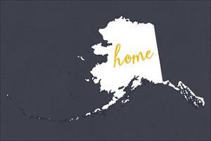 Alaska - Home State- White on Gray by Lantern Press