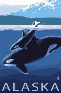 Alaska - Orca and Calf by Lantern Press