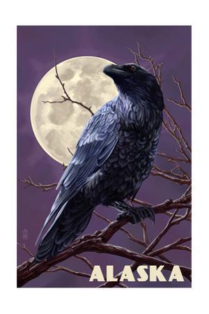 Alaska - Raven and Moon Purple Sky