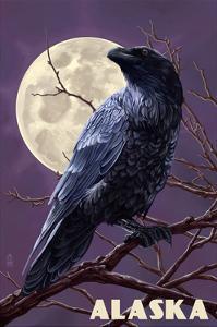 Alaska - Raven and Moon Purple Sky by Lantern Press
