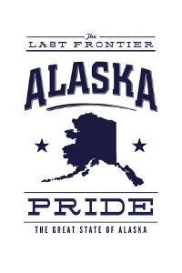 Alaska State Pride - Blue on White by Lantern Press