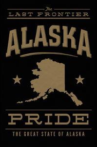 Alaska State Pride - Gold on Black by Lantern Press