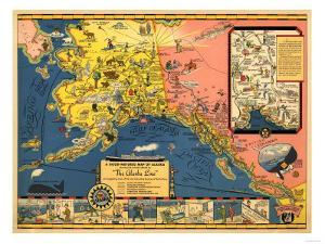 Alaska - Steamship Company Panoramic Map by Lantern Press