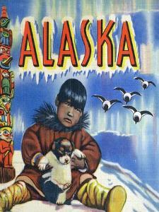 Alaska, View of a Native Child Holding a Puppy, Totem Pole and Penguins by Lantern Press