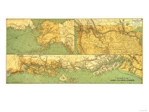 Alaskan Excursion Steam Route - Panoramic Map by Lantern Press