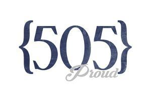 Albuquerque, New Mexico - 505 Area Code (Blue) by Lantern Press
