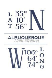 Albuquerque, New Mexico - Latitude and Longitude (Blue) by Lantern Press