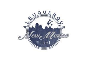 Albuquerque, New Mexico - Skyline Seal (Blue) by Lantern Press