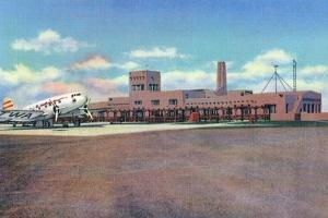 Albuquerque, New Mexico - View of Municipal Airport Admin Building by Lantern Press