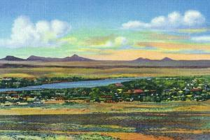 Albuquerque, New Mexico, View of the Rio Grande and Volcanoes from Air Base by Lantern Press
