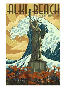 Alki Beach, West Seattle, WA - Lady Liberty Statue by Lantern Press