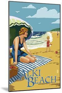 Alki Beach, West Seattle, WA - Woman on Beach by Lantern Press