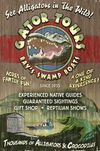 Alligator Tours - Vintage Sign by Lantern Press